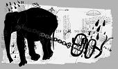 image of animal cruelty  - Symbolic image of an elephant which pulls the plow - JPG