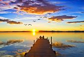 image of pier a lake  - People in the old lake pier - JPG