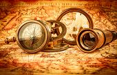 stock photo of compasses  - Vintage still life - JPG