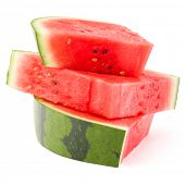 picture of watermelon slices  - Sliced ripe watermelon isolated on white background cutout - JPG
