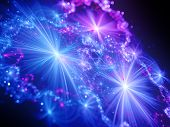 stock photo of glow  - Magical shiny glowing stars in space with rays computer generated abstract fractal background - JPG