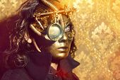 picture of steampunk  - Steampunk man wearing mask with various mechanical devices - JPG