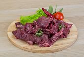 image of deer meat  - Raw wild venison meat  - JPG