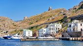 pic of crimea  - Port of Balaclava harbor located at the Black Sea Crimea Peninsula Ukraine with luxury yachts - JPG