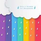 stock photo of rain clouds  - paper clouds and rain drops on rainbow sky background - JPG