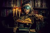 foto of post-apocalypse  - Portrait of a man steampunk in his research laboratory - JPG