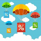 image of parachute  - Vector illustration fly in the sky parachute with paper bag sale card - JPG