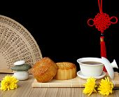 stock photo of mid autumn  - Mooncake and teaChinese mid autumn festival food - JPG