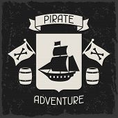stock photo of pirate  - Background on pirate theme with objects and elements - JPG