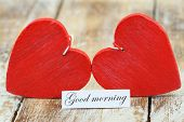picture of two hearts  - Good morning card with two red wooden hearts - JPG