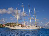 stock photo of mast  - Four masted sailing ship cruising the British Virgin islands - JPG