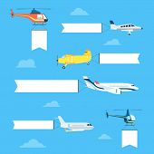 foto of helicopters  - Flat airplanes and helicopters set with white ribbon for text banners - JPG