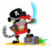 picture of treasure chest  - Cute cartoon cat in pirate costume stepped on the treasure chest - JPG
