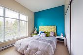 pic of violets  - Modern blue bedroom interior with blue - JPG