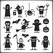 stock photo of halloween characters  - Halloween vector characters isolated on white - JPG