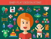 image of baby duck  - Set of flat design cute baby vector icons - JPG
