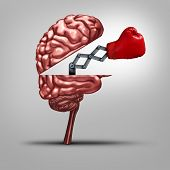 picture of cognitive  - Strong memory and brain strength symbol as a human thinking organ opened to reveal a boxing glove as a concept for fighting alzhiemers disease and other dimentia illnesses or education tools to help competitiveness - JPG