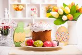 stock photo of easter decoration  - Easter cake with eggs on the table - JPG