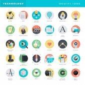 stock photo of process  - Set of flat design style vector icons for graphic design - JPG