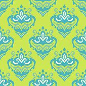 pic of damask  - Damask abstract  green pattern vector seamless background - JPG
