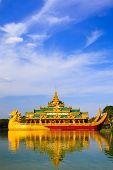 foto of yangon  - Karaweik is a palace on Kandawgyi lake Yangon Myanmar - JPG