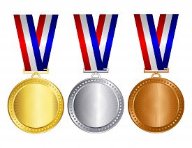 stock photo of gold medal  - Gold silver and bronze medals with red blue and silver  - JPG