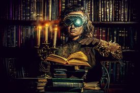 pic of steampunk  - Portrait of a man steampunk in his research laboratory - JPG