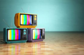 stock photo of tv sets  - Vintage television concept - JPG