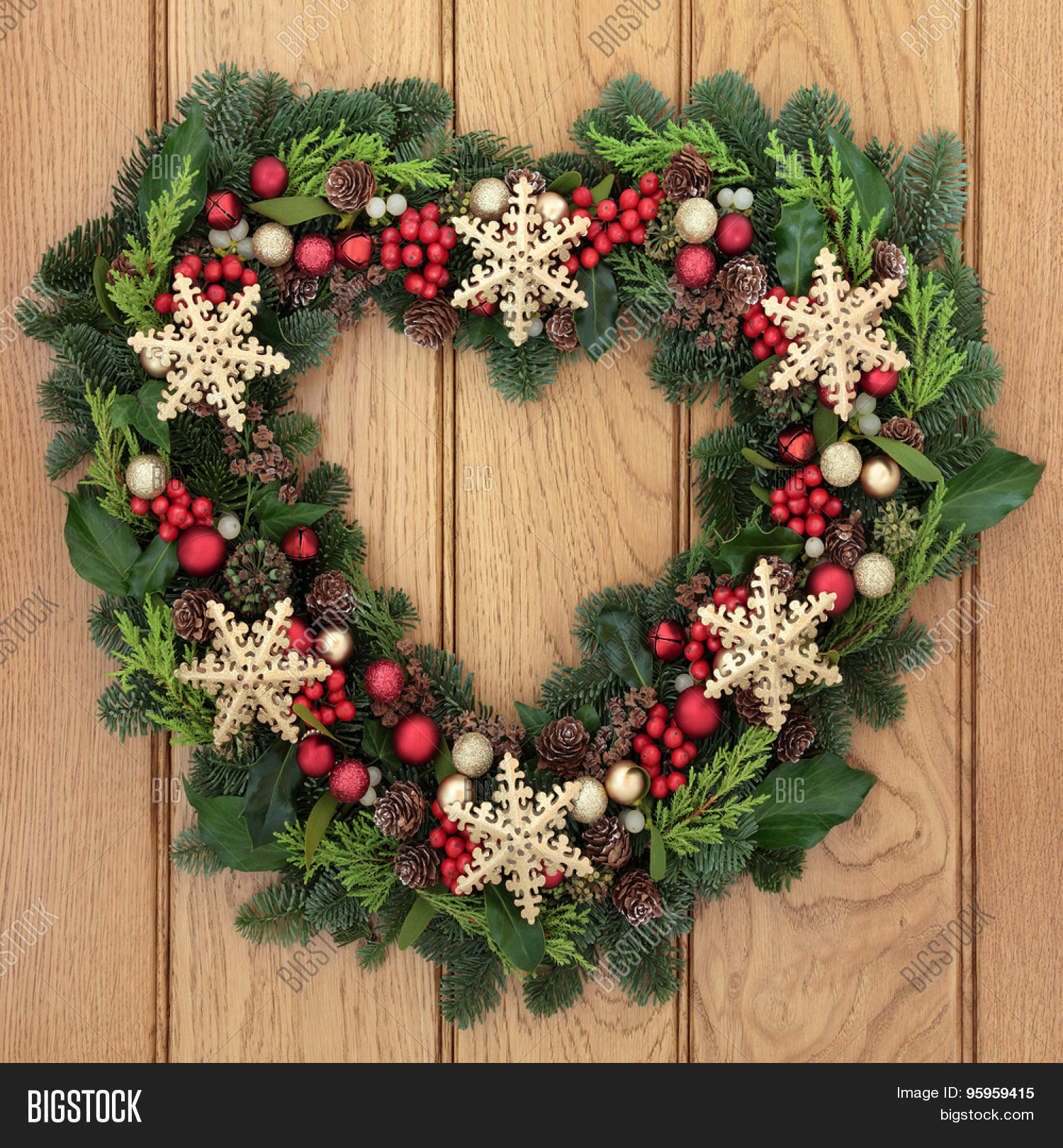 Christmas heart shaped wreath gold image photo bigstock