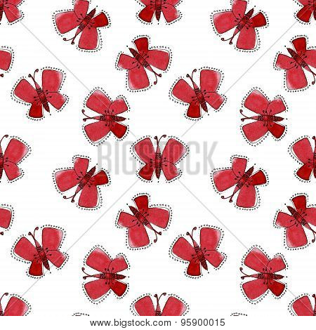 Seamless watercolor  pattern of red moths
