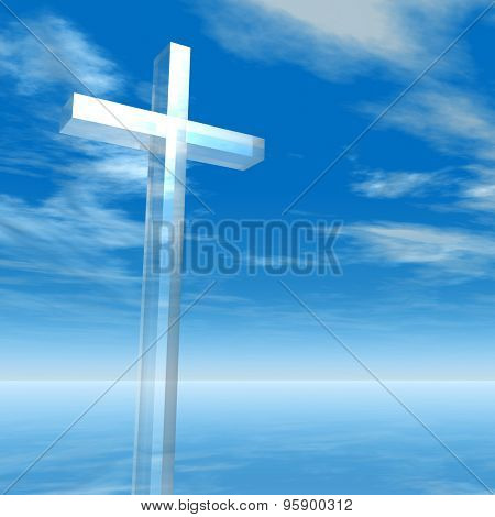 Concept conceptual glass cross or religion symbol silhouette on water landscape over a blue sky with sunlight clouds background