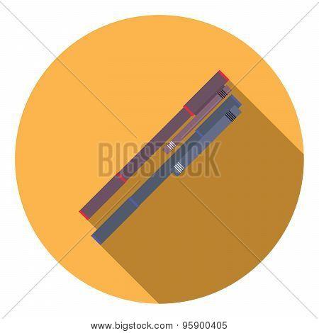Flat Design Vector Illustration Concept Of Ballpoint Pen Icon Long Shadow