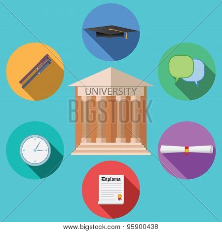 Flat Design Vector Illustration Concept For University Building Education Icons Set In Flat Design S