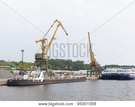 Dockside Crane Barge Ship Rubble