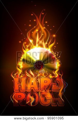 Disco Fire Hard Rock Background. Burning Disck Or Record