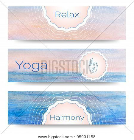 Professional banner templates or banner design for yoga studio,  yoga website, yoga magazine, publis