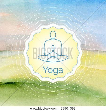 Poster for yoga class with a watercolor landscape