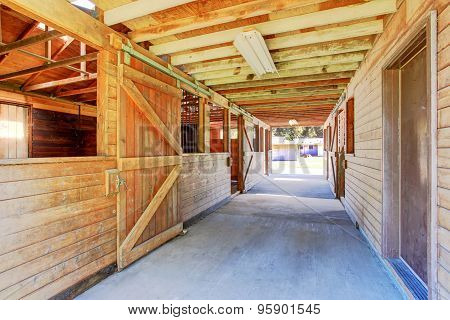 Large And Authentic Barn With Many Stalls.