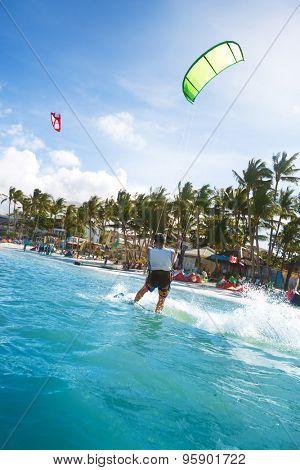 Kitesurfing in ocean at Bali