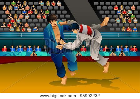 Men Doing Judo In The Competition