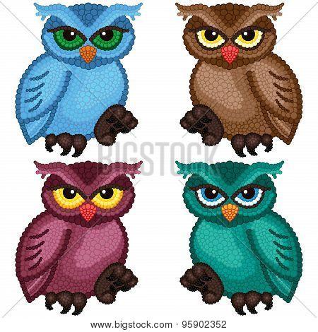Set Of Four Ornamental Owls