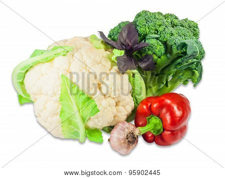 Cauliflower, Broccoli, Bell Pepper, Garlic And Basil