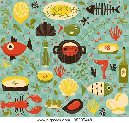 Seafood theme  pattern, seamless oriented
