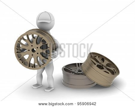 White Man With Car Alloy Wheels
