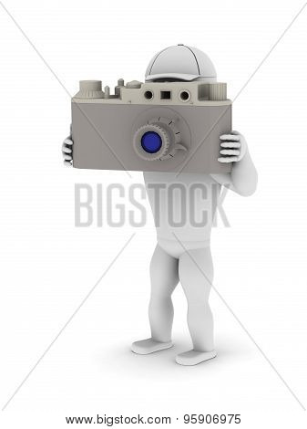White Man With A Big Camera Photographed