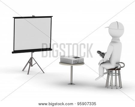 White Man With Remote Control Looks At The Screen On A Multimedia Projector