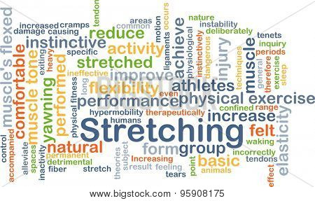 Background concept wordcloud illustration of stretching