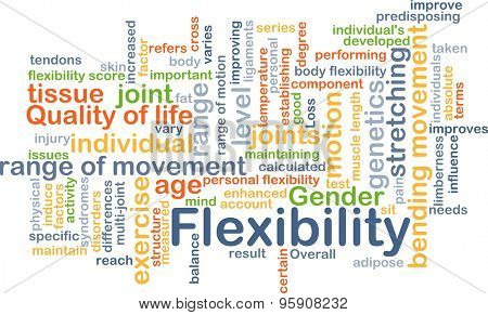 Background concept wordcloud illustration of flexibility