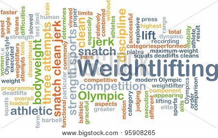 Background concept wordcloud illustration of weightlifting
