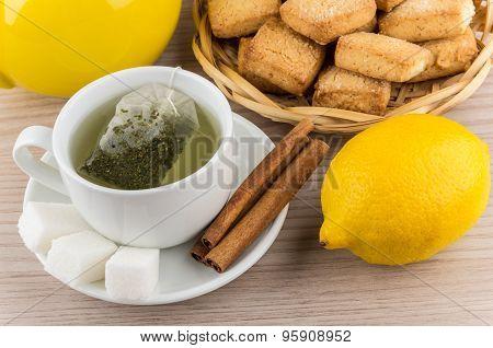 Brewed Tea, Sugar And Cinnamon, Lemon And Shortbread Cookies